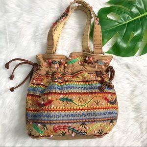 Lucky Brand Embroidered Shoulder Hobo Purse Bag